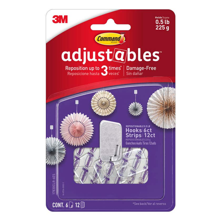 Command™ Adjustables™ Adhesive Small Repositionable Wall Hooks Clear - 6 Pack