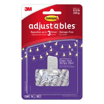 Command™ Adjustables™ Adhesive Small Repositionable Wall Clips Clear - 14 Pack