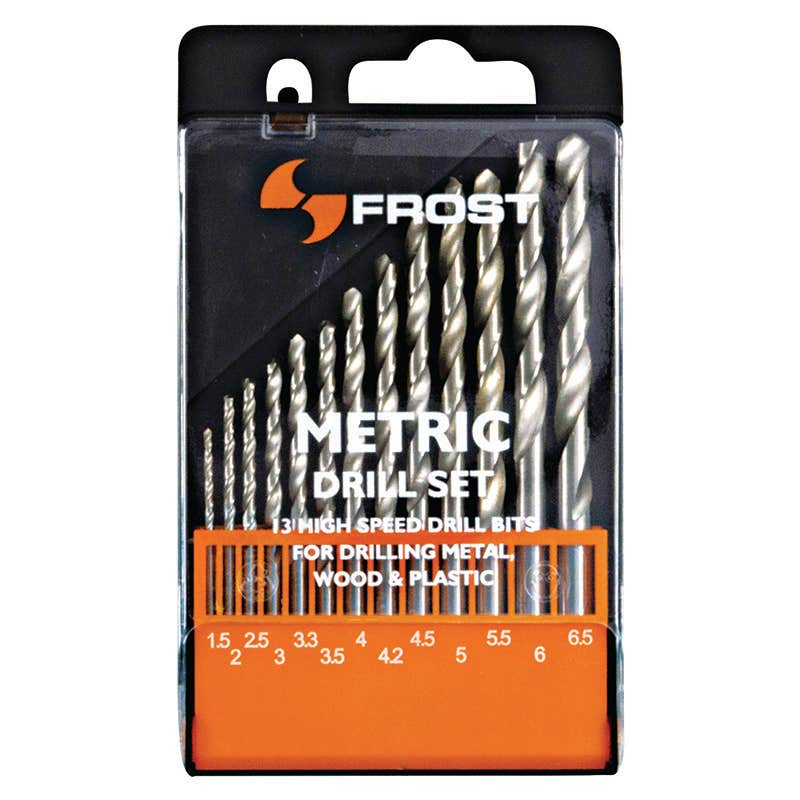 Frost 13 Piece Metric Jobber Drill Set with Plastic Case