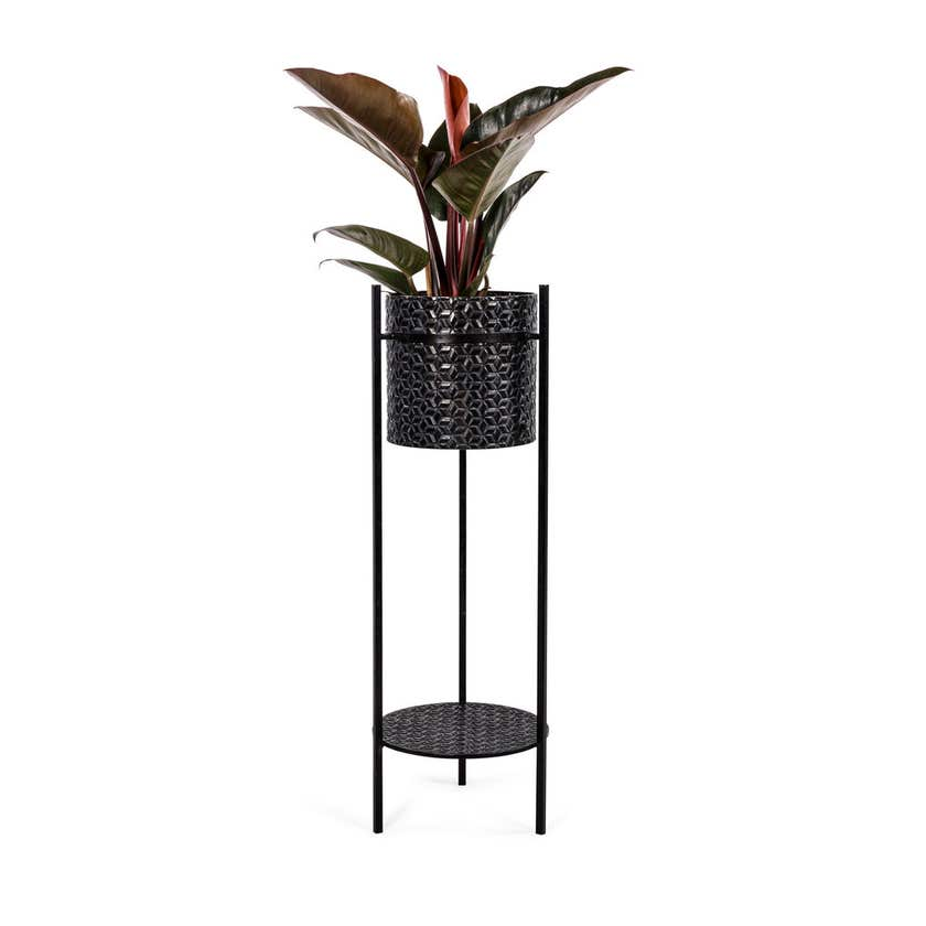 Takasho Luxe Cylindrical Planter on Legs Black