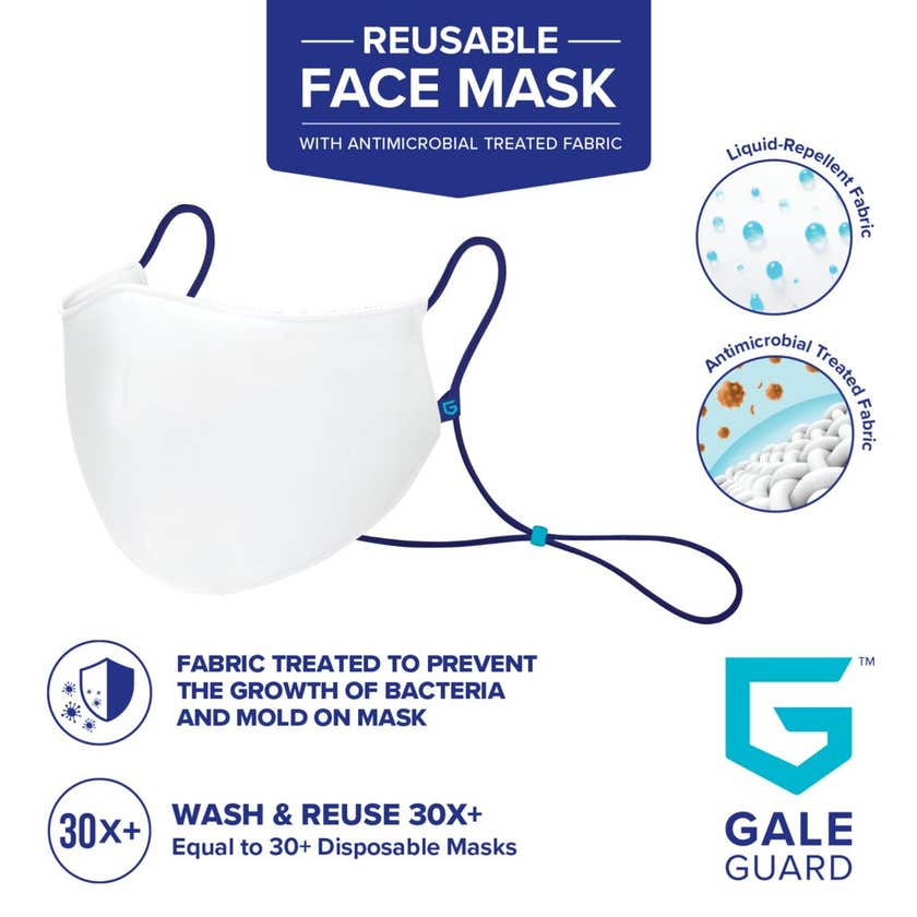 Gale Guard Reusable Fabric Face Mask White - 1 Pack