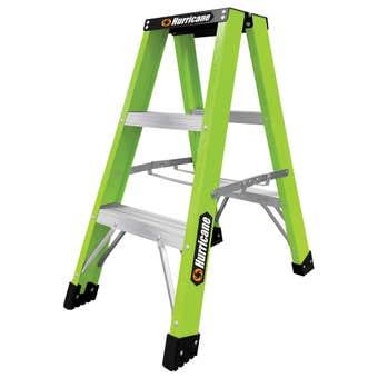Hurricane Hi-Vis Fibreglass Double Sided Ladder 120kg Industrial 0.9m