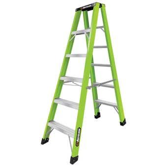 Hurricane Hi-Vis Fibreglass Double Sided Ladder 120kg Industrial 1.8m