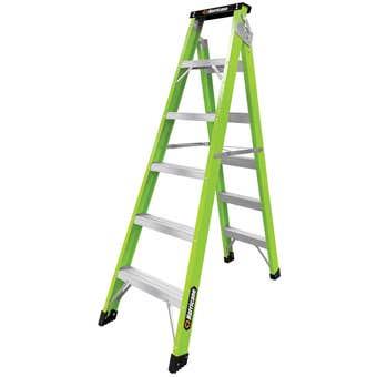 Hurricane Hi-Vis Fibreglass Dual Purpose Ladder 120kg Industrial 1.8-3.2m