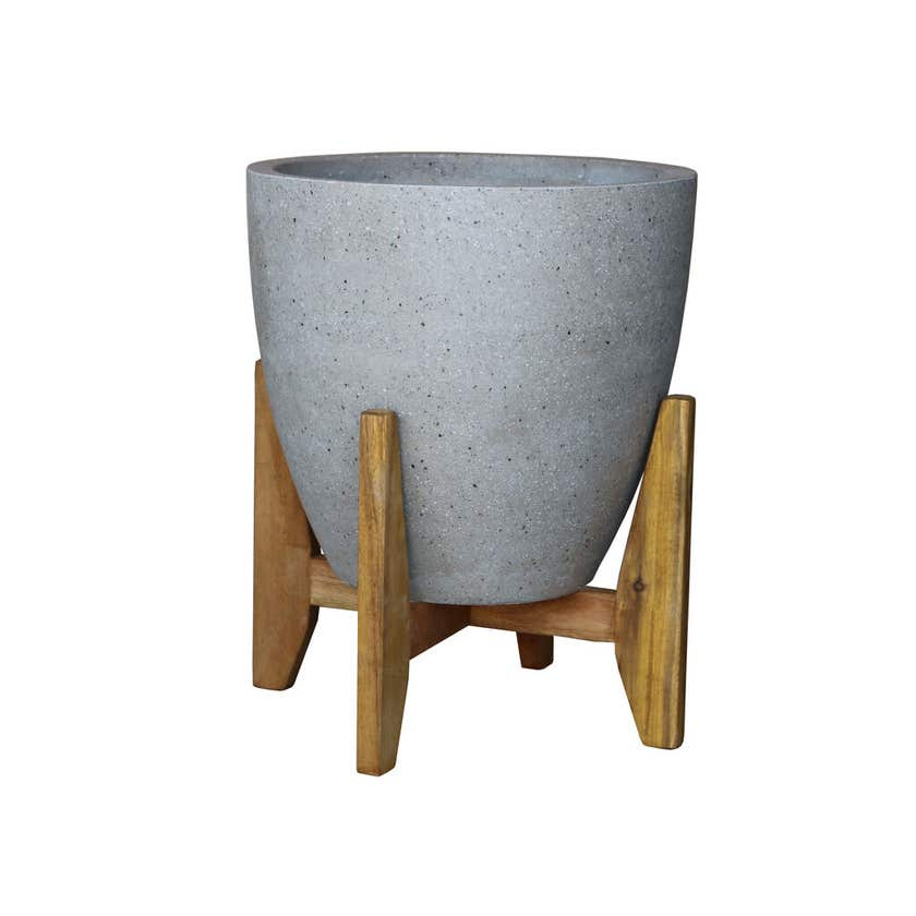 Cement Egg Pot with Stand 28cm
