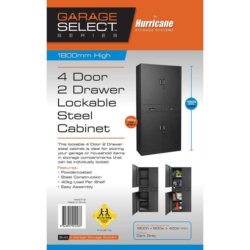 Garage Select 4 Door 2 Drawer Lockable Steel Cabinet
