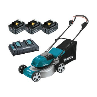 "Makita 36V (18V x 2) 5.0Ah Brushless Lawn Mower 460mm (18"") Kit DLM464PT3"