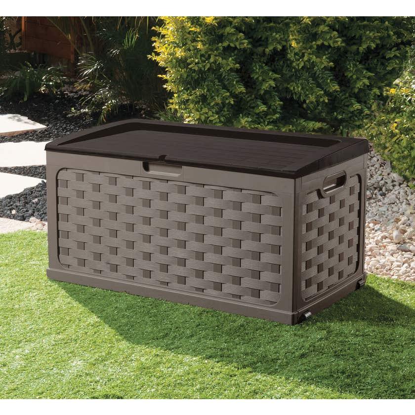 Cushion Storage Box Seat with Wheels Mocha 335L