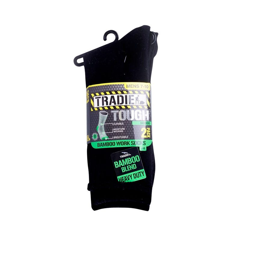 Tradie Mens Bamboo Work Sock Size 7-10 - 2 Pack