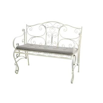 Cotswolds 2 Seater Steel Bench with Cushion Antique White