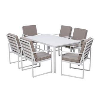 Byron 6 Seater Aluminium Dining Set White