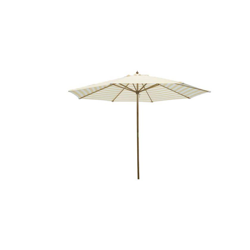 Timber Market Umbrella Yellow & White Stripe 2.95m