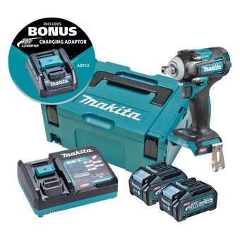 Makita 40V Brushless 2 x 4.0Ah Impact Wrench Kit TW005GM203