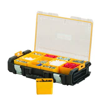 DeWALT Tough System Clear Lid Tool Organiser with 12 Removable Totes