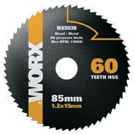 WORX 85mm 60 tooth HSS PVC and Non-Ferrous Metals blade