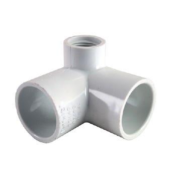 "Holman PVC Pressure Elbow Side Outlet 90 Deg 20mm x 1/2"""