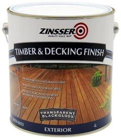 Zinsser Timber & Deck Finish Black Gloss 4L