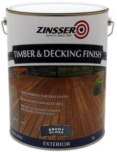 Zinsser Timber & Deck Finish Ebony Gloss 10L