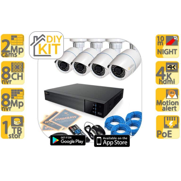 Q-See 4 x 2MP POE Bullet Cameras with 8 Channel 1TB NVR Kit