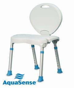 AquaSense Bath/Shower Seat Folding Back & Legs, Height Adjustable