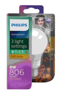 Philips LED Light Globe 3 Step Scene Switch A60 8W-60W ES