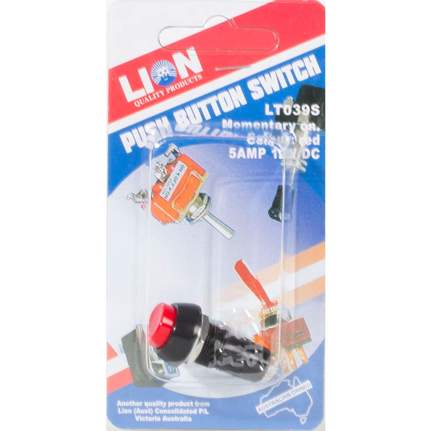 Lion Push On Button Switch Red