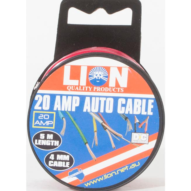 Lion 20Amp x 4mm Red 5M Auto Cable