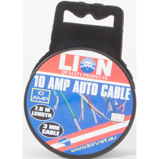 Lion 10Amp x 3mm Yellow 7.5m Auto Cable