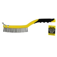 Uni-Pro Heavy Duty Rust & Paint Removal Wire Brush with Metal Scraper
