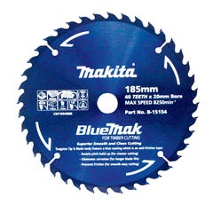 Makita Saw Blade Blue Mak 185mm 20mm Bore 40T