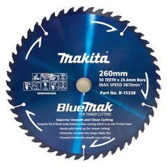 Makita Saw Blade Blue Mak 260mm 25.4mm bore 50T