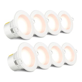 HPM 8 Pack Dli Led 7W Dl Warm White White Finish 90Mm Non Dim