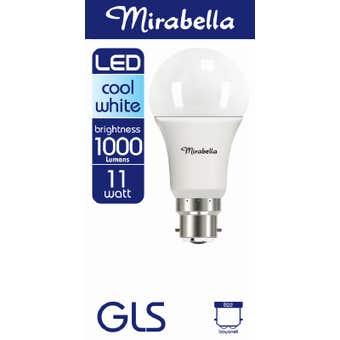 Mirabella LED Globe GLS 11w BC Cool White Pearl