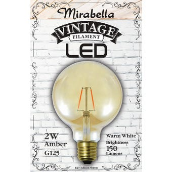 Mirabella LED Globe Filament Sph G125 2W ES Amber