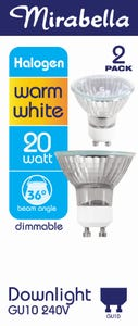 Mirabella Day Light Gu10 Halogen 240v 20w W/w 38d Pack of 2