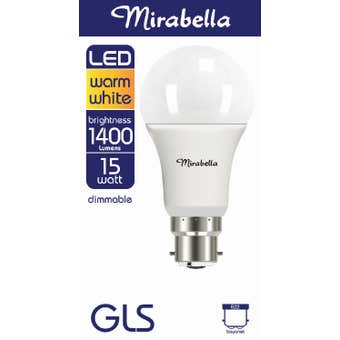 Mirabella LED Globe GLS 15w Dimmable BC Warm White Pearl