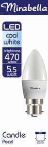 Mirabella LED Globe CANDLE 5.5W BC Cool White PRL