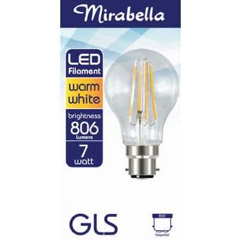 Mirabella LED Globe Filament BC 2700K 7W