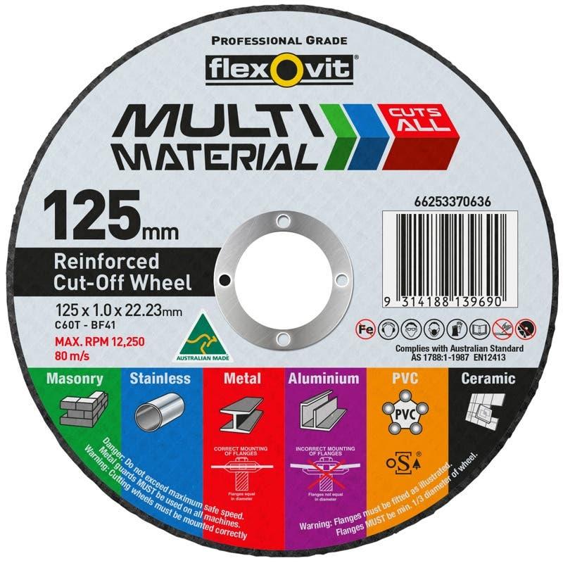 Flexovit Multi Material Cut-Off Wheel 125 x 1 x 22mm