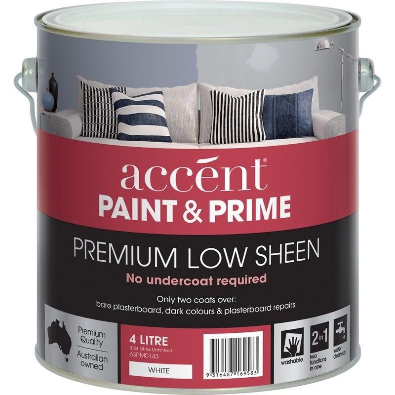 Accent® Paint & Prime Low Sheen White 4L