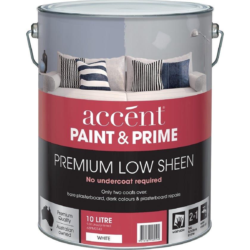 Accent® Paint & Prime Low Sheen White 10L