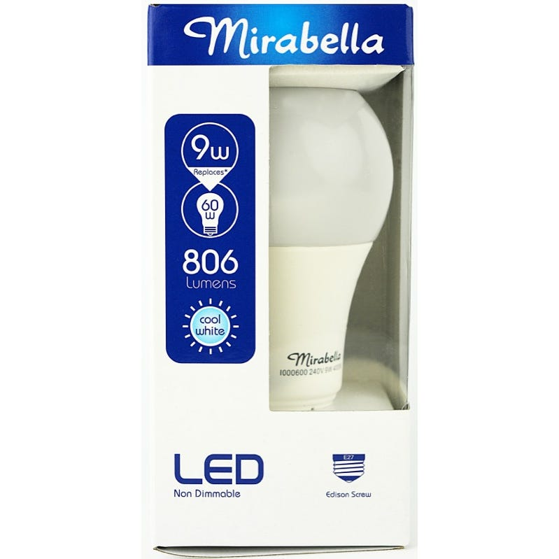Mirabella LED Globe GLS ES 9W  Cool White