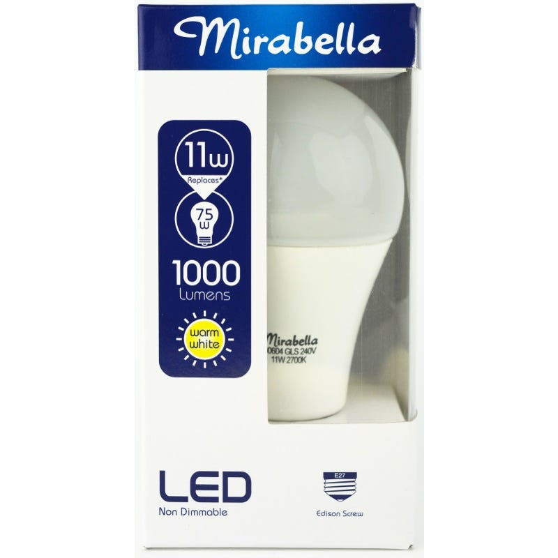 Mirabella LED Globe GLS ES 11W Warm White