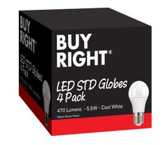Buy Right® 5.5W LED Edison Screw Cool White GLS Globe Pack 4