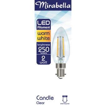 Mirabella LED Globe Filament Candle 2w SBC Warm White