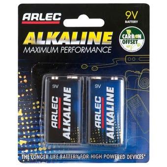 Arlec 9V Alkaline Batteries 2pk