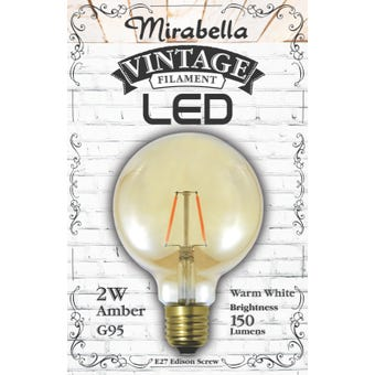 Mirabella LED Globe Filament Sph G95 2W ES Amber