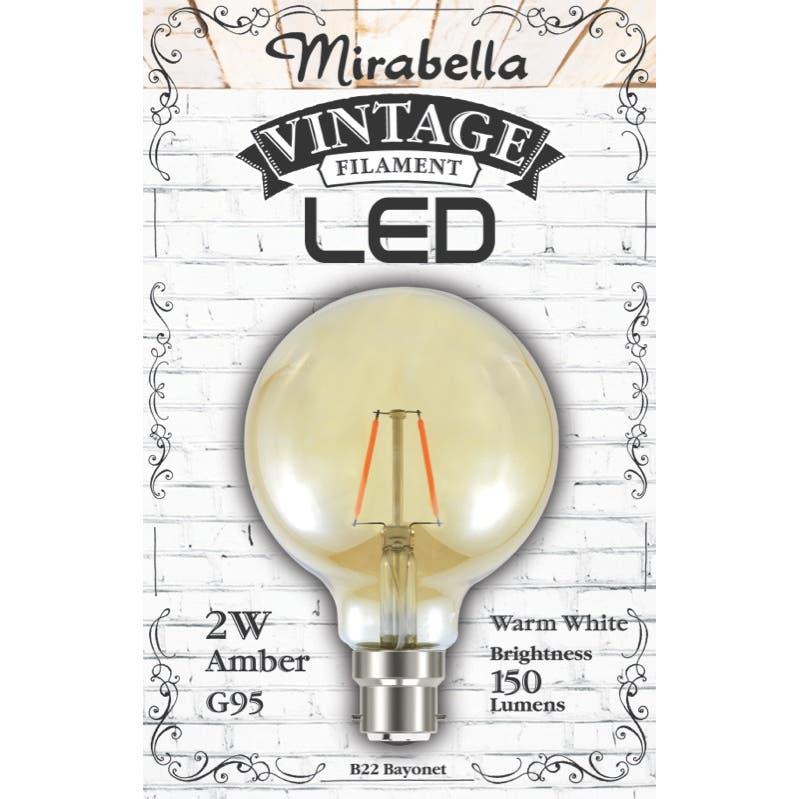 Mirabella LED Globe Filament Sph G95 2W BC Amber