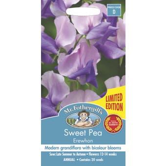 Mr Fothergills Sweet Pea Flowering Seeds Erewhon 20 Pack