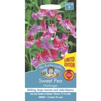 Mr Fothergills Sweet Pea Flowering Seeds Harbinger 20 Pack